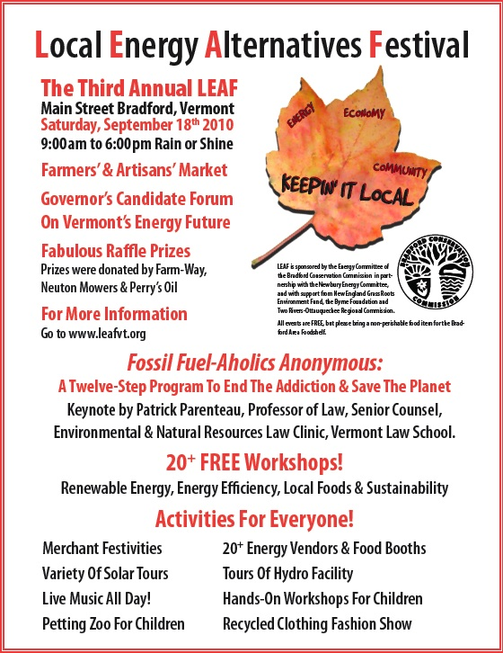 Promotional Flyer for Local Energy Alternatives Festival