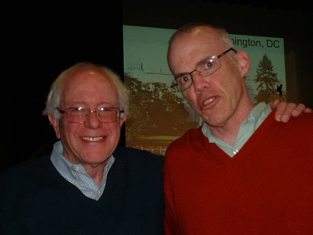 Senator Sanders and Bill McKibben at Montpelier Climate Conference