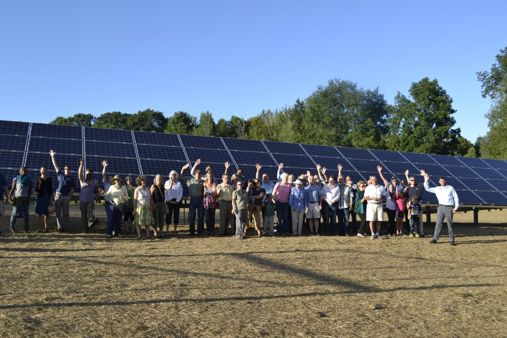 The Solar Garden's Grand Opening on August 13, 2013. Pictured are panel owners, staff from SunFarm, Integrated Solar, the Clean Energy Collective and GMP.