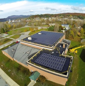 Rutland's newest solar farm -- at the College of Saint Joseph. The 98.28kW project is a fully ballasted roof mount solar photovoltaic system, atop the college gymnasium.