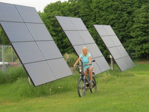 Nancy Rae Mallery on her solar-charged electric bike