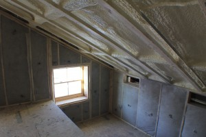 Foam Insulation above and Cellulose insulation below.