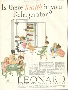 Circa: 1928, Ladies Home Journal. Vintage Ad Leonard Refrigerator Children with doll and Tea Table.