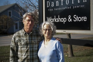 Fred and Judi Danforth, owners of Danforth Pewter. Photo courtesy of Anjanette Lemak, Designer at Danforth Pewter.