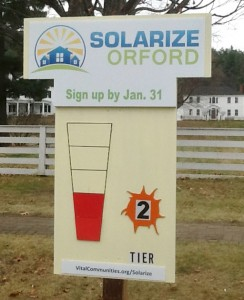 Orford Progress Meter: As of late November, the Solarize Orford campaign had signed on enough homeowners to reach Tier 2 of their discounted pricing schedule.