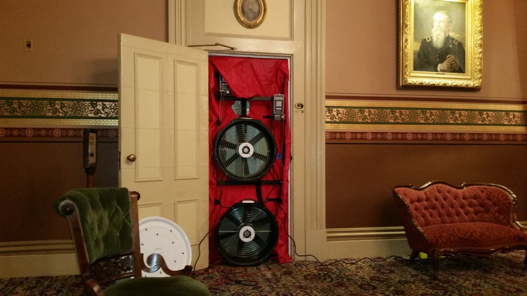 The post-construction blower door tests showed a 10% reduction in heat loss.r Heat savings will be $2100 per year.
