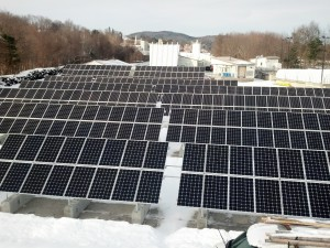 121kW PV array at the Plymouth Village Water and Sewer District. Photo courtesy of William Adams, Mauchly Electric.