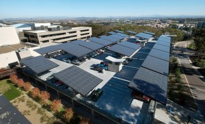 Solar canopies on the Hopkins parking garage at UC San Diego supply the campus microgrid. The campus generates 92% of its power.