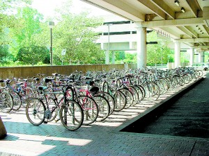 Bicycle parking at the Alewife MBTA station, Cambridge, Massachusetts. Photo by Arnold Reinhold. Creative Commons Attribution-Share Alike 3.0 Unported