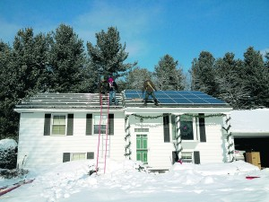 A residential solar installation in Queensbury, NY in the winter of 2014. Photo courtesy of Ben Sopczyk from 'Active Solar.'