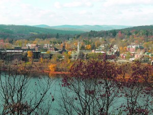 Brattleboro in the fall. Photo by Ken Gallager. Placed into the public domain by the author.