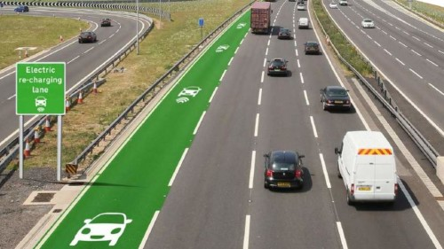 The possibility of EV recharging lanes is being explored in the UK.