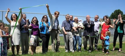 The ribbon-cutting event for the Harvard Solar Garden was a time to celebrate.