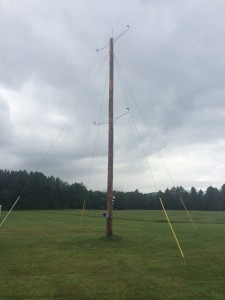The wind-measuring tower that was donated to the Lowell Graded School from GMP.