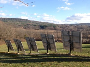Tracking mounts for solar panels at a farm in Brunswick, New York.