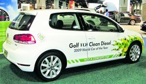 "VW Golf TDI ""clean diesel"" at the 2010 Washington Auto Show. Photo by Mariordo. CC BY-SA 3.0."