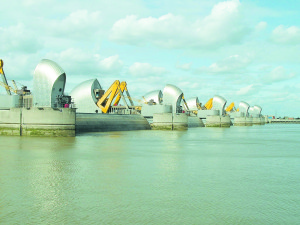 The Thames Barrier protects London against flooding. At the time of its construction, the barrier was expected to be used 2 to 3 times per year. It is now being used 6–7 times per year. Photo by Andy Roberts. CC BY-SA 2.0