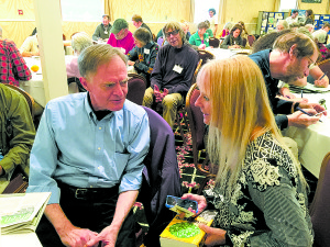 Publisher of Green Energy Times, Nancy Rae Mallery, interviews Richard Heinberg at the VECAN Conference on December 5, 2015. Photo courtesy of 'Bob the Green Guy' Farnham.