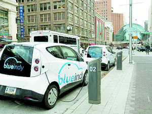 Caption: Charging stations in Indianapolis for BlueIndy electric vehicles. Photo courtesy: http://bit.ly/gannett-cdn