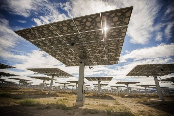 Heliostats at the Crescent Dunes Solar Project, located 11 miles northwest of Tonopah, Nevada. Jeff Scheid/Las Vegas Review-Journal