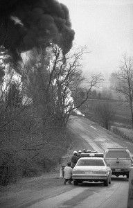 Propane continues to burn from a leak in a TEPPCO pipeline on Rt. 43 in No. Blenheim, NY on March 13, 1990.