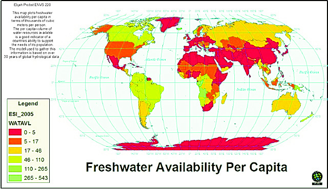The map plots fresh water availability per capita in terms of thousands of cubic meters per person. The per capita volume of water resources available is a good indicator of a countries ability to support the needs of the population. The model used to gather this information is based on over 30 years of global hydrological data.