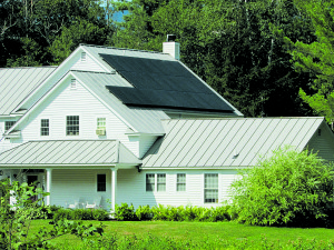 7.6 kW rooftop array installed on a standing seam metal roof in Dorset, VT. Courtesy photo