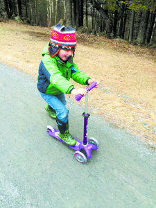 Four-year old Bodhi from Bradford, VT enjoys the Deluxe Mini MicroBoard Scooter model. Courtesy photos