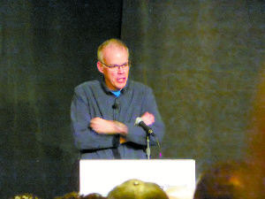Bill McKibben presented the keynote address at Efficiency Vermont's Better Buildings by Design's (BBD) Conference that was held on February 3-4, 2016, in Burlington, VT. Photo courtesy of Greg Whitchurch.