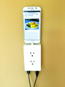 The thingCHARGER is handy in the kitchen when needing to read a recipe at the same time as charging. Courtesy photo.