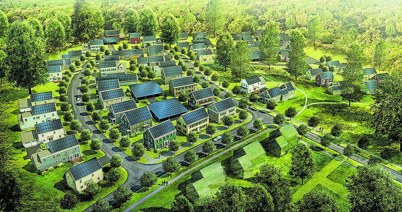 Rendering of the 85 homes at the Summit Oaks development at Village Hill in Northampton, MA. Photos courtesy of Transformations, Inc.