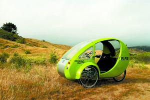 Electric-assist tricycle with solar panel on roof. Photo courtesy of Organic Transit.