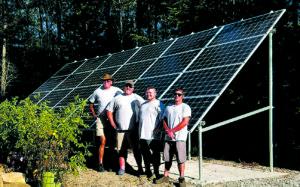 TheMilhouse Enterprisesinstall team in front of the business's6.84 kW solar array.Photo courtesy of Milhouse Enterprises.