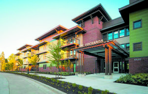 The Orchards at Orenco in Hillsboro, OR is the largest multifamily passive building in North America. Photo credit:  Casey Braunger, Ankrom Moisan Architects
