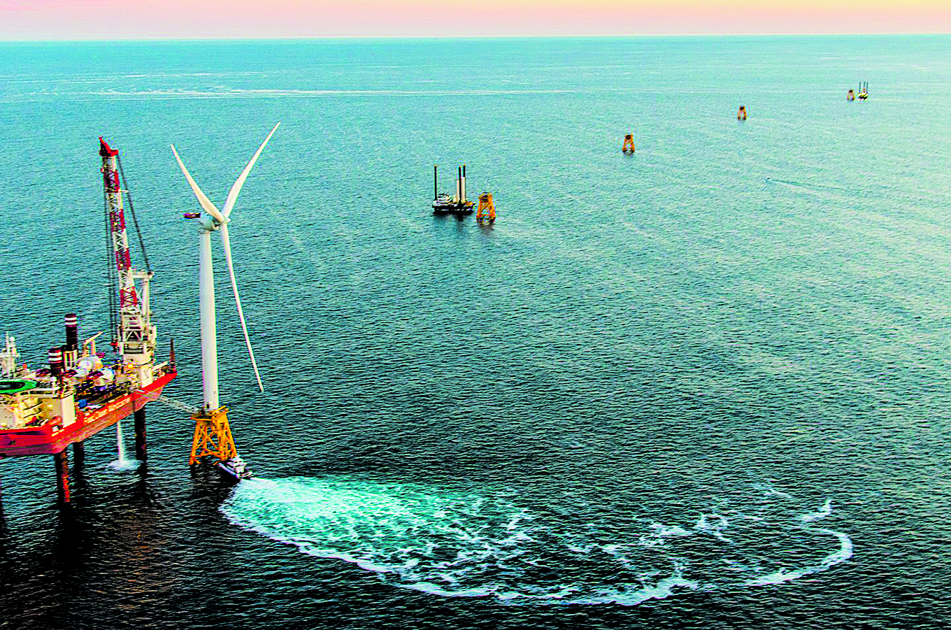 The first turbine of the Block Island Wind Farm is installed. Photo: Deepwater Wind.
