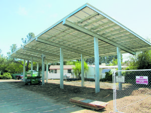 A solar carport canopy at Rocklin Estates in California is one example of how solar could be deployed at a mobile home park or an ROC. Credit: Del Sol Energy