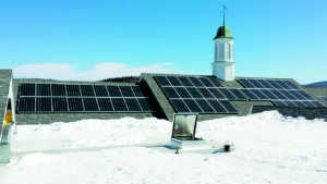 Rooftop solar system on Kumball Union Academy's Miller Bicentennial Hall. Meridan, New Hampshire. Photo courtesy of Norwich Technologies