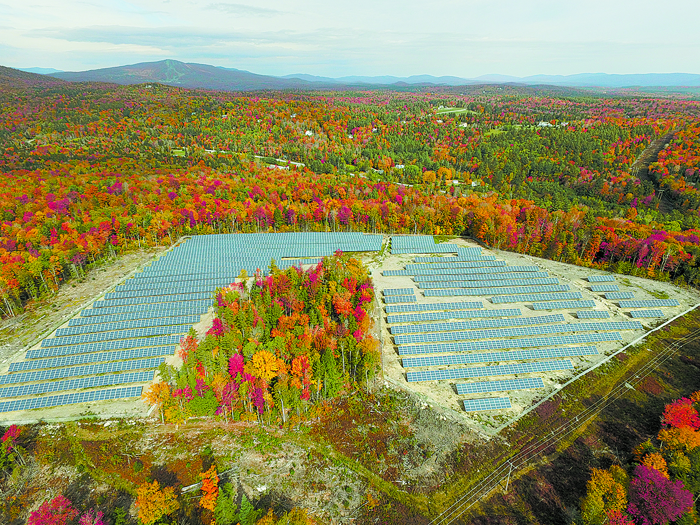Aerial view of solar farm. Photo courtesy of Joshua Wylie.