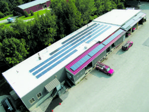 Solar Photovoltic panels at Vermont Roofing, Bennington, Vermont