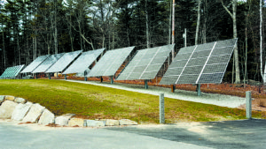 Ground-mounted solar system for a community solar project.