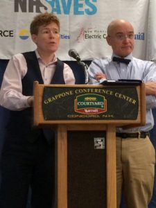 Dr. Holmes Hummel (left) and D. Maurice Kreis (right) giving the keynote speech during the Local Energy Solutions conference on November 19, 2016.   Photo courtesy of New England Grassroots Environment Fund.