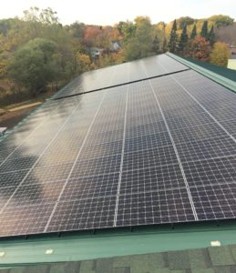 The array offsets approximately 94% of their electric load. Photo credit: Exeter Lumber (NH)