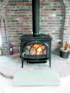 Jotul Oslo stove installed in Vermont. Photo courtesy of Friends of the Sun, Brattleboro, VT