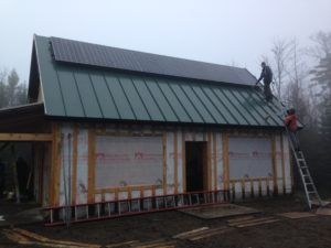 Construction in progress at Nansen Ski Club's new warming hut in Milan, NH. Photo courtesy of ReVision Energy.