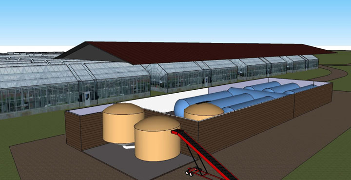 Biogas generation. Here is a 52 °C thermophile anaerobic digestion system converting putrescible residual organic matter (i.e. brown trays), organic residues from slaugtherhouse activities and biosludge from wastewater treatment plants to energy. Image: http://bit.ly/biogas-power.