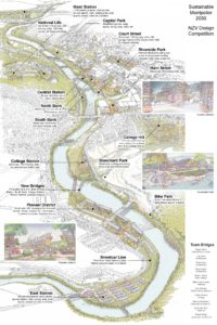 Detail of Team Bridges winning competition design for downtown Montpelier. Please click on the map to enlarge it.