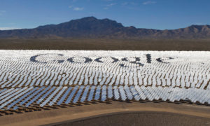 Google's logo is spelled out in the heliostats (mirrors that reflect sunlight) at the Ivanpah solar electric generating system in the Mojave Desert near the California-Nevada border. Photo source: gadgetsnow.com.