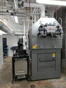 :The new Viessmann Vitoflex 300 wood chip boiler with a maximum heat output of 2.4 million BTUs/hr. Photos courtesy Froling Energy.