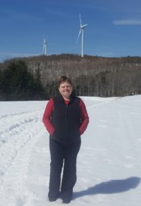 Lindsay Miller at the Sheffield wind farm in Sheffield, VT. Courtesy photo.