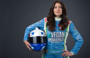 Leilani Munter, vegan, hippie chick with a racecar and a mission for the planet. Photo credit: Scott LePage
